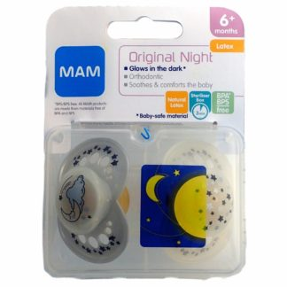 MAM Original Night Latex Soother Twin Pack: 6m+ (Moon & Stars)