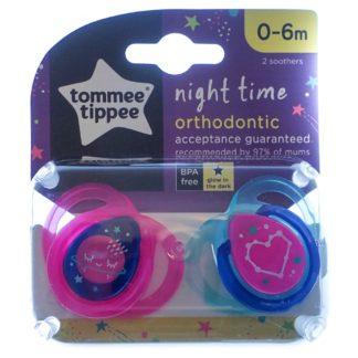 Tommee Tippee Night Time Soother Twin Pack - 0-6m (Pink/Blue Space)