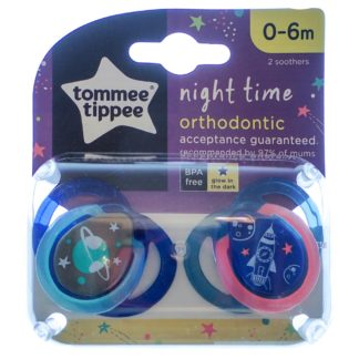 Tommee Tippee Night Time Soother Twin Pack - 0-6m (Blue Space)