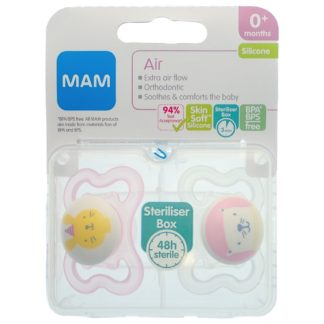 MAM Air Soother Twin Pack: 0m+ (Pink)