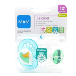 Mam Original Soother Twin Pack: 12m+ (Dinosaur/Live in Flow)