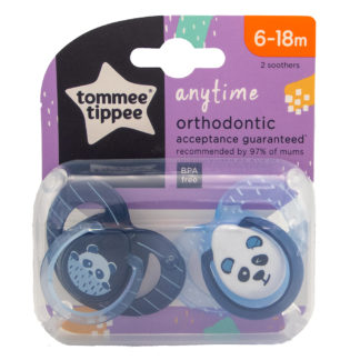 Tommee Tippee Any Time Soother Twin Pack: 6-18m (Panda - Blue)
