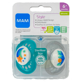 MAM Style Soother Twin Pack: 6m+ (Star/Love)